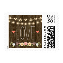 Blush String of Lights Rustic Fall Love Wedding Postage