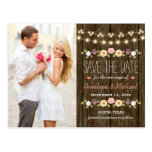 Blush String Of Lights Rustic Fall Save The Date Postcard at Zazzle