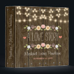 """Blush String of Lights Rustic Fall Wedding Binder<br><div class=""""desc"""">This wedding organizer is part of a fall floral rustic string of lights wedding invitation set in blush, coral, green, brown, white, yellow and brown hues with a beautiful wood look background reminiscent of a wooden fence and or barrel. An autumnal laurel wreath composed of acorns, berries, sunflowers, tulip rose...</div>"""
