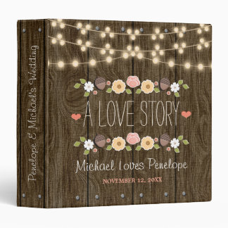 Blush String of Lights Rustic Fall Wedding Binder