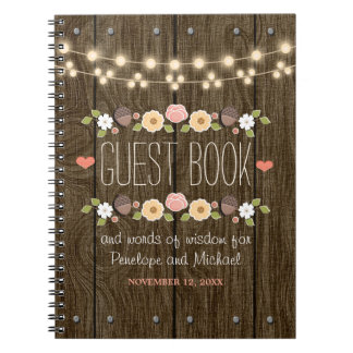 Blush String of Lights Rustic Fall Wedding Guest Spiral Notebook