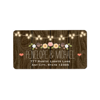 Blush String of Lights Rustic Fall Wedding Label