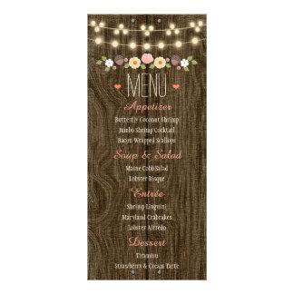 Blush String of Lights Rustic Fall Wedding Menu