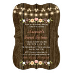 Blush String of Lights Rustic Sweet 16 5x7 Paper Invitation Card