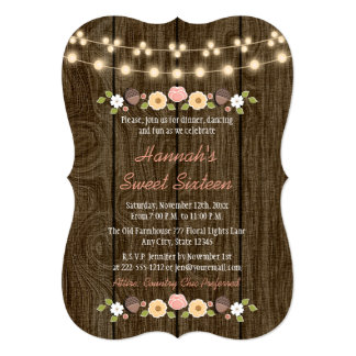 Blush String of Lights Rustic Sweet 16 Card