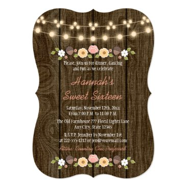 Valentines Themed Blush String of Lights Rustic Sweet 16 Card