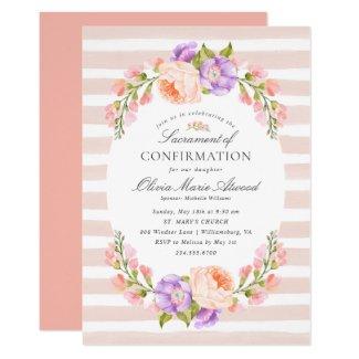 Blush Stripe and Bloom Sacrament of Confirmation Invitation
