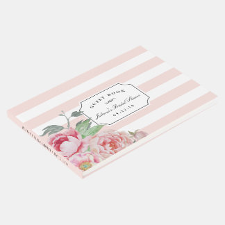 Blush Stripe & Antique Peony Bridal Shower Guest Book