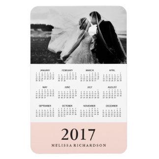 Blush Stripe | Elegant 2017 Photo Calendar Magnet