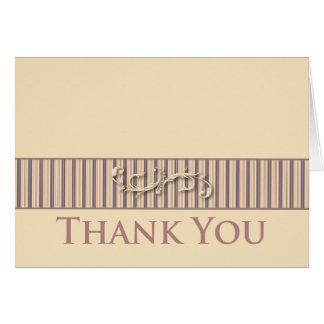 Blush Stripe Flourish Collection Thank You Card
