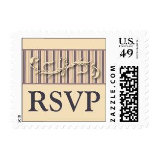 Blush Stripe Flourish RSVP Wedding Postage