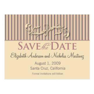 Blush Stripe Flourish Save the Date Announcement Postcard