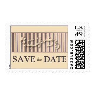 Blush Stripe Flourish Save the Date Postage