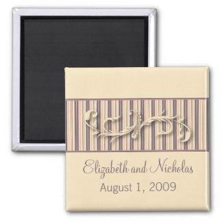 Blush Stripe Flourish Wedding Favor Magnet