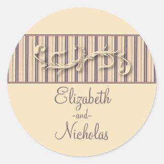 Blush Stripe Flourish Wedding Invitation Seal Classic Round Sticker