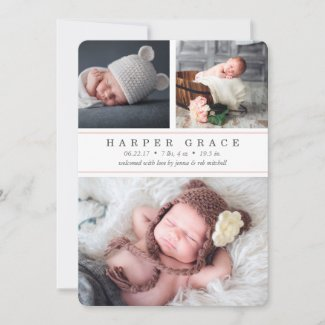 Blush Stripe | Photo Collage Birth Announcement