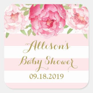 Blush Stripe Pink Floral Baby Shower Favor Tag