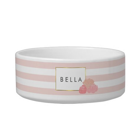 Blush Stripe & Pink Peony Personalized Pet Bowl