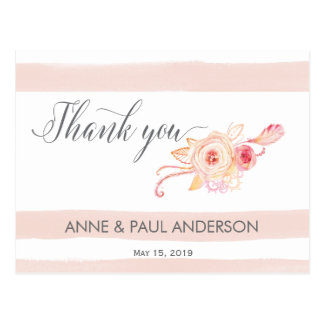 Blush stripes and floral Thank You Card