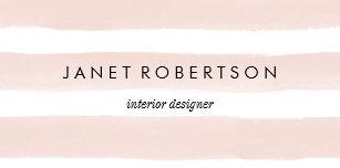 Blush Stripes Desk Business Card Holder