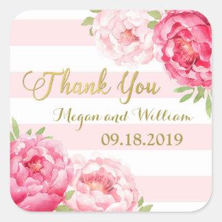 Blush Stripes Gold Pink Floral Wedding Favor Tags