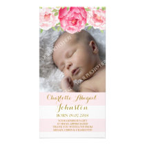 Blush Stripes Pink Flowers Thank You Baby Shower Card