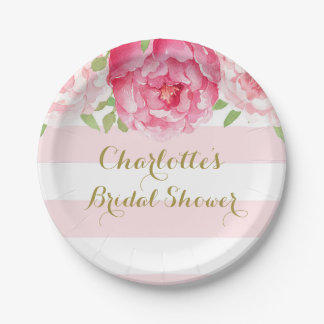 Blush Stripes Pink Watercolor Bridal Shower Plate