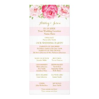 Blush Stripes Pink Watercolor Wedding Program