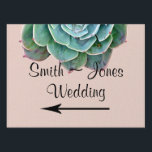 "Blush Succulent Wedding Direction Sign<br><div class=""desc"">This beautiful design, called Blush Succulent Wedding, has a pretty nature inspired design. The background is a blush color with a thin sage green border. At the top there is a beautiful blooming succulent with pink tips and edges. This would be perfect for a garden wedding or if you are...</div>"