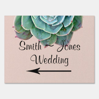 Blush Succulent Wedding Direction Sign