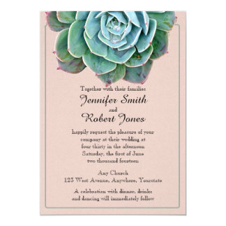 Blush Succulent Wedding Invitation