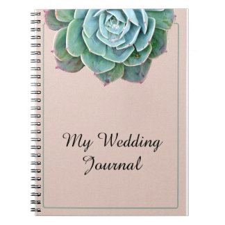 Blush Succulent Wedding Journal Spiral Note Book