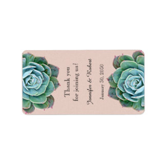 Blush Succulent Wedding Lip Balm Label