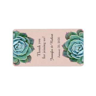 Blush Succulent Wedding Lip Balm Label Address Label