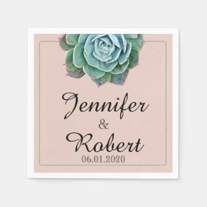 Blush Succulent Wedding Napkin
