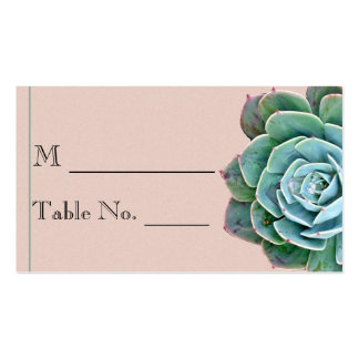 Blush Succulent Wedding Place Card Double-Sided Standard Business Cards (Pack Of 100)