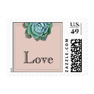 Blush Succulent Wedding Postage Stamp
