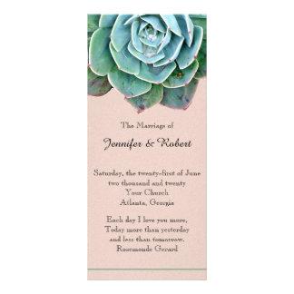 Blush Succulent Wedding Program Personalized Rack Card