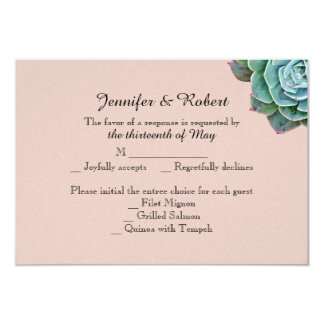 Blush Succulent Wedding Response Card