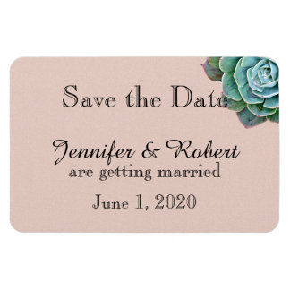 Blush Succulent Wedding Save the Date Flexible Magnets