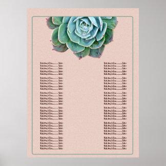 Blush Succulent Wedding Seating chart