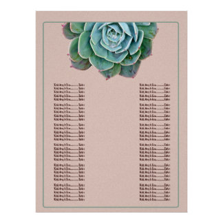 Blush Succulent Wedding Seating chart Poster