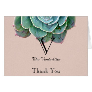 Blush Succulent Wedding Thank You Stationery Note Card