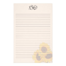 Blush Sunflowers Lined Monogram Writing Paper