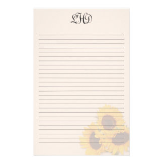 Blush Sunflowers Lined Monogram Writing Paper  Lined Writing Paper