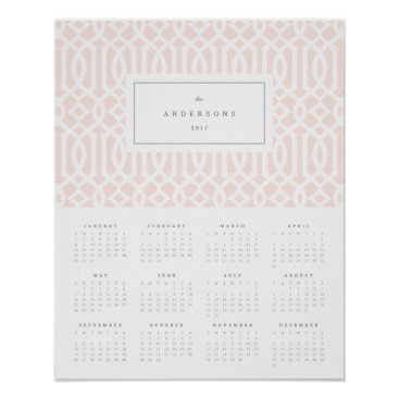 Professional Business Blush Trellis 16x20 2017 Yearly Calendar Poster
