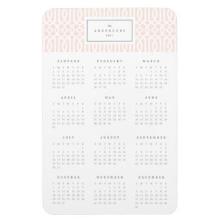 Blush Trellis 4x6 Yearly Calendar Magnet