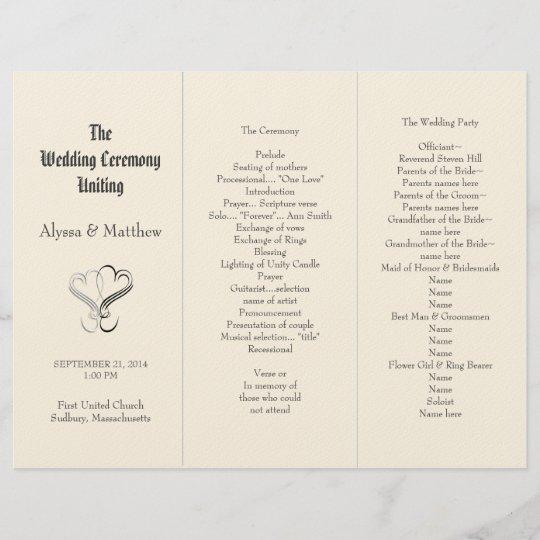 blush tri fold two hearts wedding program template zazzle com