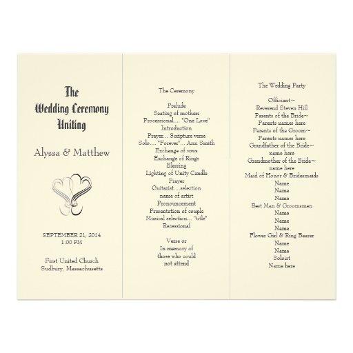 Blush Tri-Fold Two Hearts Wedding Program Template Customized Letterhead