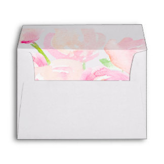 Blush Watercolor Blooms Envelope